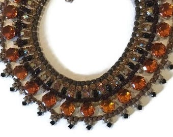 CARAMELLO hand painted rhinestone super statement necklace