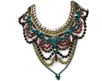 WINTER SPARKLE hand painted rhinestone super statement necklace