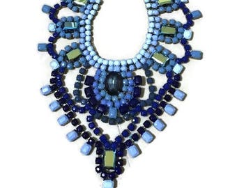 BLUE BOTTLE blue hand painted rhinestone super statement necklace