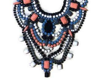 AHOY SAILOR hand painted rhinestone super statement necklace