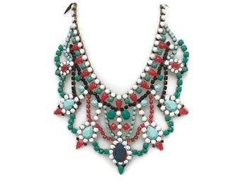 CHRISTMAS CHEER hand painted rhinestone super statement necklace