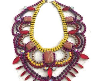 TIKA MASALA painted rhinestone necklace
