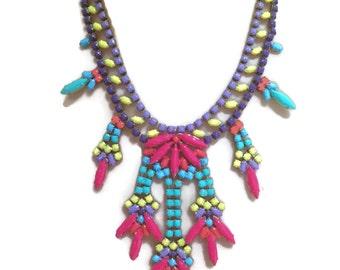 TREE OF LIFE neon painted rhinestone necklace
