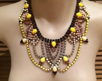 PERKY NANA multi-tone brown and yellow painted rhinestone statement bib necklace