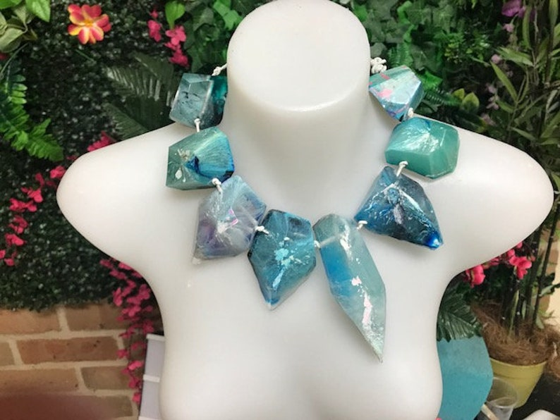 CAPE TOWN blue epoxy resin statement necklace