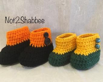 Crochet Baby Boots ~ Baby Booties ~ Baby Girl Boots ~ Baby Girl Boots ~ Sports Team Baby Booties