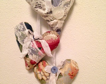 Adorable Hanging Fabric Hearts with Crinkled French Seam Binding and Vintage Buttons ~ Pink Floral Hanging Hearts ~ Shabby Chic Hearts