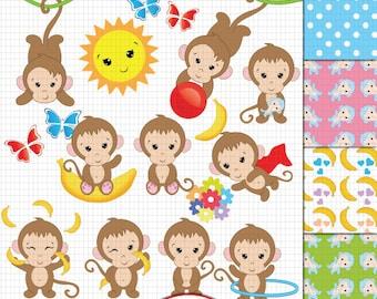 Monkey Clipart, Cute Monkey clipart, Baby Monkey clipart, Funky Monkey clipart, Monkey digital paper, Monkey clip art, Monkey theme clipart