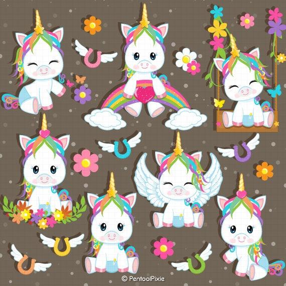 Baby Unicorn Clipart Unicorn baby shower Unicorn Clip Art ...