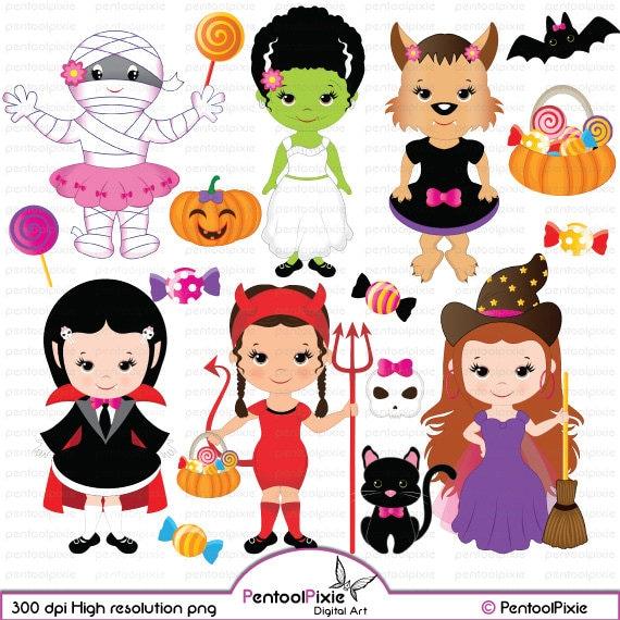 Halloween girls clipart cute witch frankenstein girl | Etsy