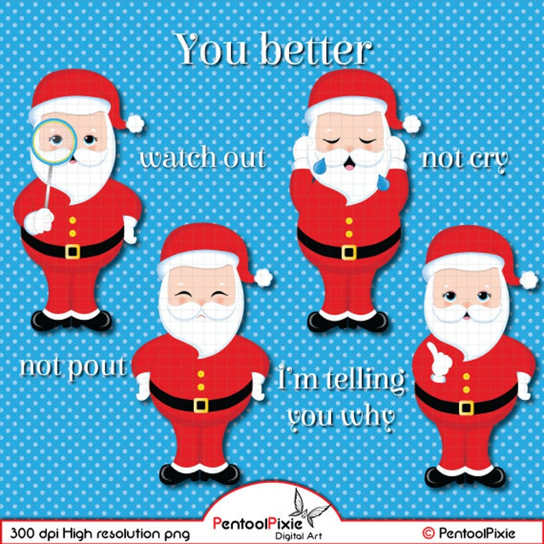 Christmas Carols Clipart.You Better Watch Out Christmas Carols Clipart Santa Claus Clipart Christmas Clipart Cute Santa Rudolph Reindeer Xmas Clipart