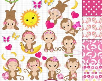 Monkey Clipart, Monkey Girl clipart, Cute Monkey clipart, Baby Girl Monkey clipart, Funky Monkey clipart, Monkey digital paper