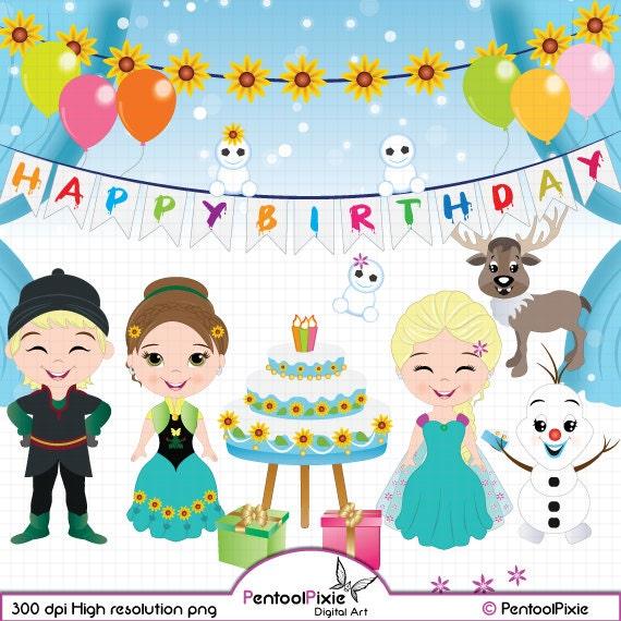 Frozen Fever Birthday Party Clipart Frozen Clipart Princess Etsy