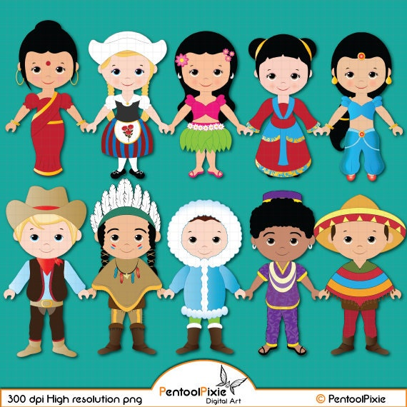 children of the world clipart part 1 children around the world rh etsystudio com kids around the world clip art editable Around the World Clip Art Borders