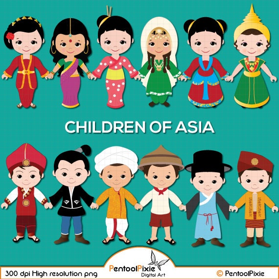 children of asia clipart asian kids children unity clipart etsy rh etsy com asian clipart black and white asian clipart black and white