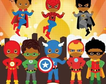 African American Superhero clipart, Super Hero clipart, Superhero boys, Hero clipart