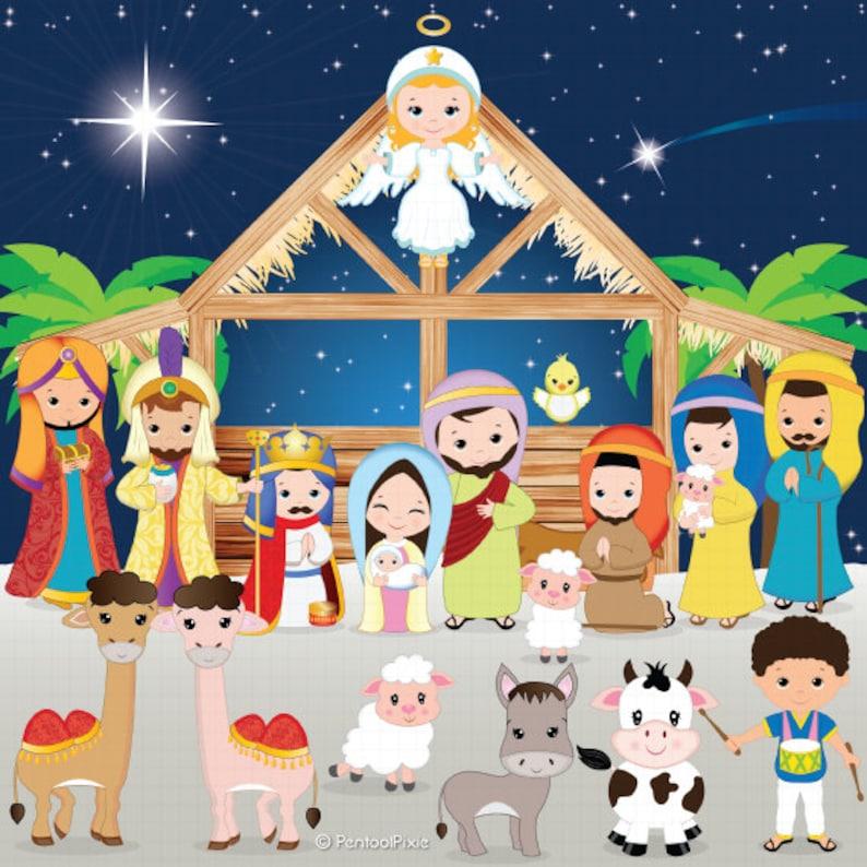 Presepe Clipart Clipart Di Natività Natale Clipart Gesù Etsy