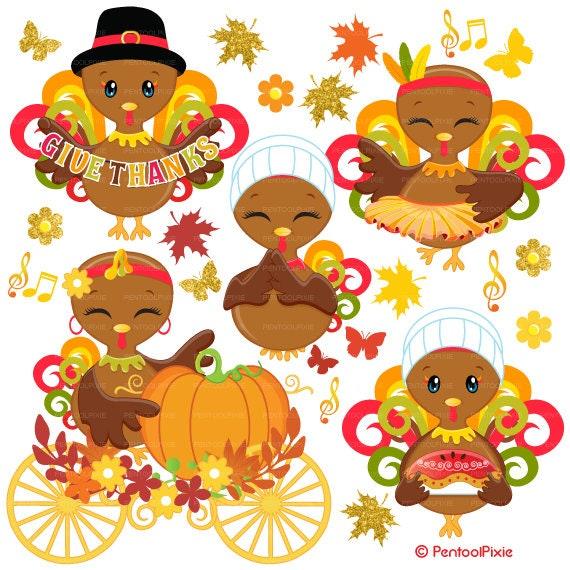 Items similar to Thanksgiving turkey clipart, Cute turkey ...