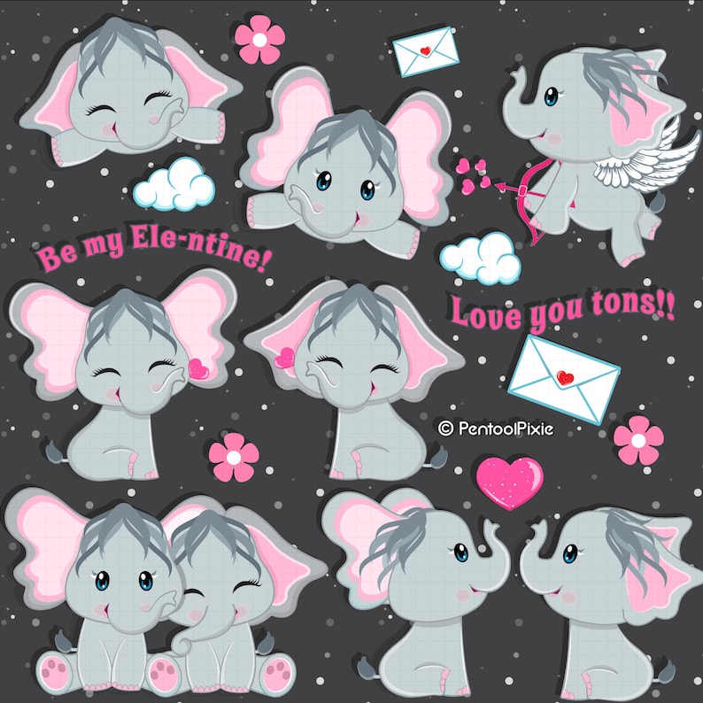 27ca25b70fa5e Grey Valentine elephants clipart, Valentines day, love clipart, animal  clipart, commercial use clipart
