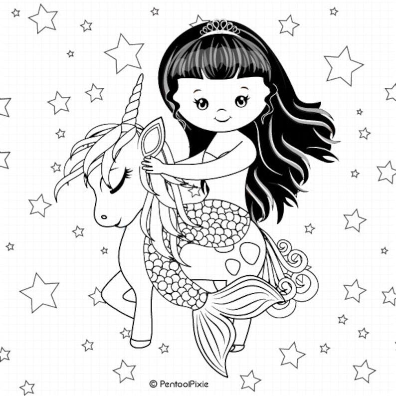Meerjungfrau Und Einhorn Ausmalbild Beliebig Briefmarken Digistamps Meerjungfrau Und Einhorn Clipart Clipart Einhorn Meerjungfrau Clipart