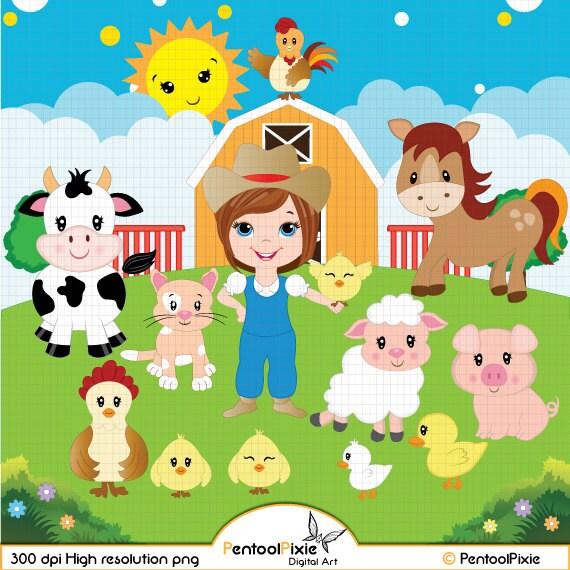 Farm Animals Clipart Farmyard Animals Barn Sheep Cow Etsy