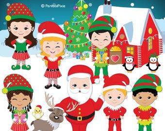 Christmas clipart, Santa's elves clipart, Cute elf clipart, Elves clipart, Digital clipart