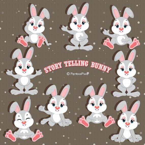 Story Telling Bunny Emotions Clipart Bunny Clipart Rabbit Etsy