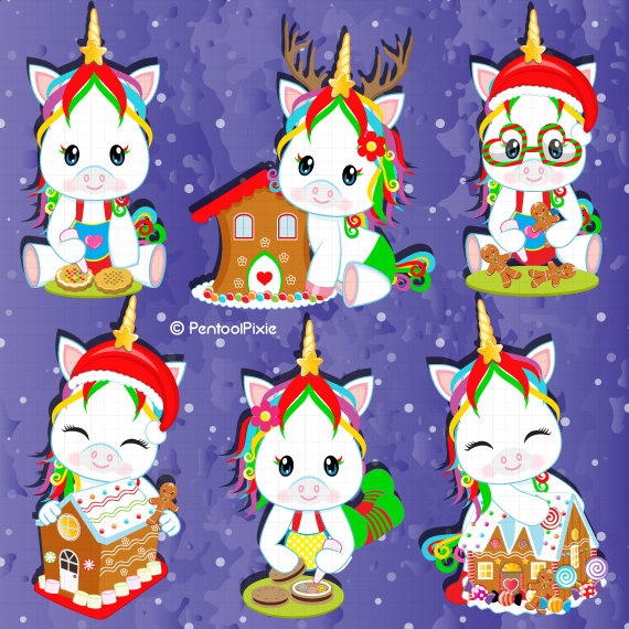 Gingerbread And Cookies Decorating Unicorn Clipart Christmas Clipart Christmas Unicorn Clipart Gingerbread Cookies Clipart
