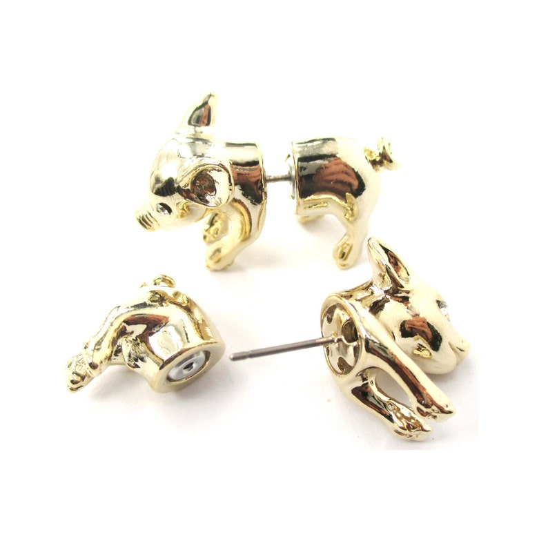 3D Baby Piglet Farm Animal Themed Fake Gauge Plug Earrings in Shiny Gold Unique Faux Ear Gauges