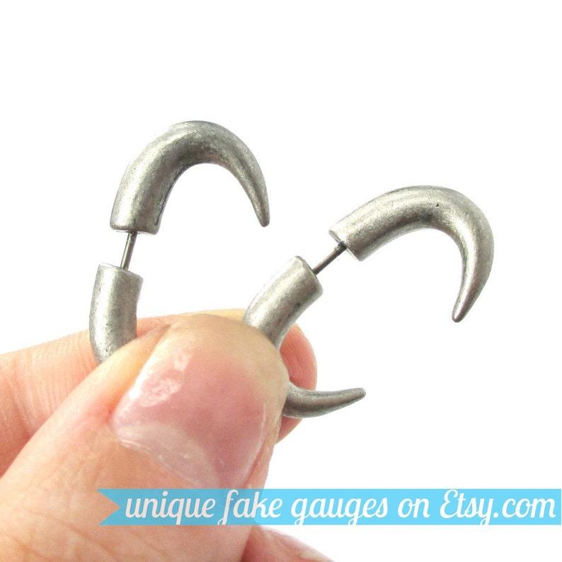 fa209ce6c Curved Hook Shaped Fake Ear Gauges Plug Stud Earrings in   Etsy