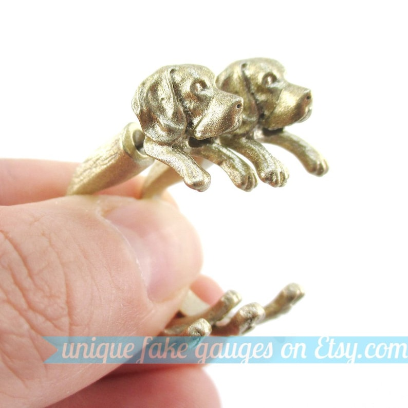 3D Realistic Beagle Puppy Dog Shaped Animal Fake Gauge Plug Earrings in Gold Unique Faux Ear Piercings