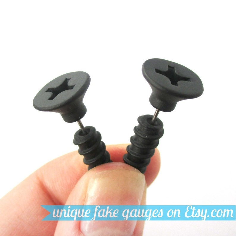 155d768db Realistic Screw Nail Shaped Fake Gauge Plug Earrings in Black   Etsy