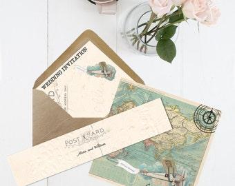 Travel etsy wanderlust wedding invitation info card and rsvp set printed 350 gsm card inc stopboris Gallery