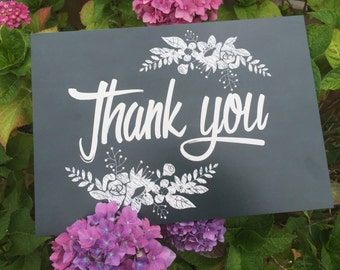 Chalk wedding thank you sign - photo thank you prop A4 sign - photo thank you card