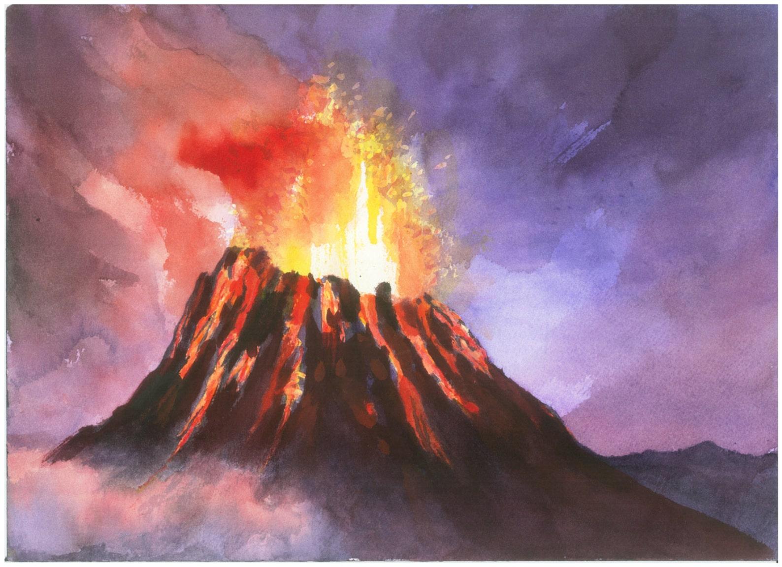 Картинка горы с вулканом для детей