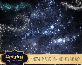 Snow Magic Photo Overlays, frozen magic, snowflake clipart, winter Christmas snow clip art photography PNG overlay graphics