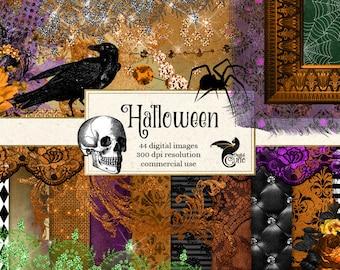 Halloween Digital Scrapbooking Kit Clipart Paper Bats Frames Spiders Skull Pearls Lace Diamonds Damask Overlays