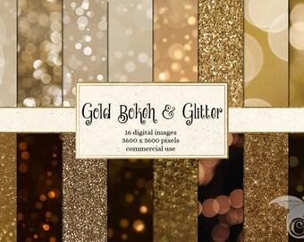 Gold Bokeh Digital Paper, Gold Glitter Scrapbook paper, bokeh photography backgrounds, light effects, gold shimmer digital instant download