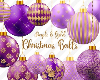purple and gold christmas balls clipart christmas baubles christmas ornaments gold and purple christmas tree decoration graphics