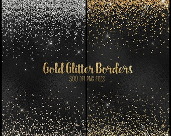 Gold Glitter Borders Clipart, silver and gold glitter png overlays, clip art gold glitter confetti high resolution instant download