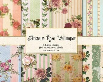 Antique Rose Wallpaper Digital Paper, Rose Digital Paper, Floral Shabby Chic Scrapbook Wallpaper Patterns Backgrounds Vintage Paper Texture