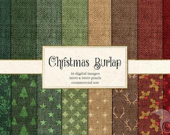 Christmas Burlap Digital Paper - Linen Natural Backgrounds, Textures, Holiday Digital Scrapbook Paper Pack Instant download
