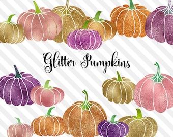 Glitter Pumpkin Clipart, gold foil pumpkin, Halloween clip art, gold foil sparkle glam pumpkin PNG graphics, instant download commercial use