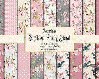 Set of 5 12x12 Vintage Shabby Chic Pink Roses Digital Papers Journal or Scrapbook Papers Digital Printable Papers GARDEN GETAWAY