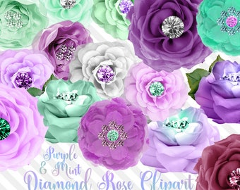 Purple and Mint Diamond Rose Clip Art, digital flower embellishment for baby shower invitations, weddings, instant download png silk roses