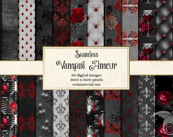 Vampire Amour Digital Paper, Halloween Vampire Digital Paper seamless Halloween backgrounds red black antique rose gothic scrapbook paper