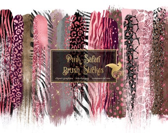 transparent png animal print gold glitter leopard zebra snake paint elements commercial use 18 Safari Pink and Gold Brush Strokes clipart