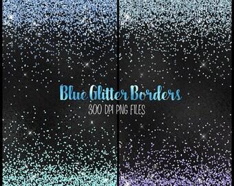 Blue Glitter Borders Clipart, blue and aqua glitter png overlays, clip art blue glitter confetti high resolution instant download