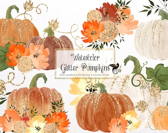 Watercolor Glitter Pumpkins Clip Art - sparkling gold pumpkins in PNG format instant download for commercial use