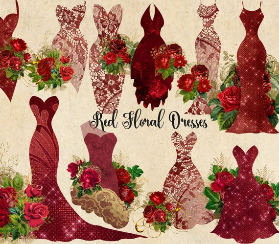 Red Floral Dresses Clipart Shabby Chic Bridal Gowns